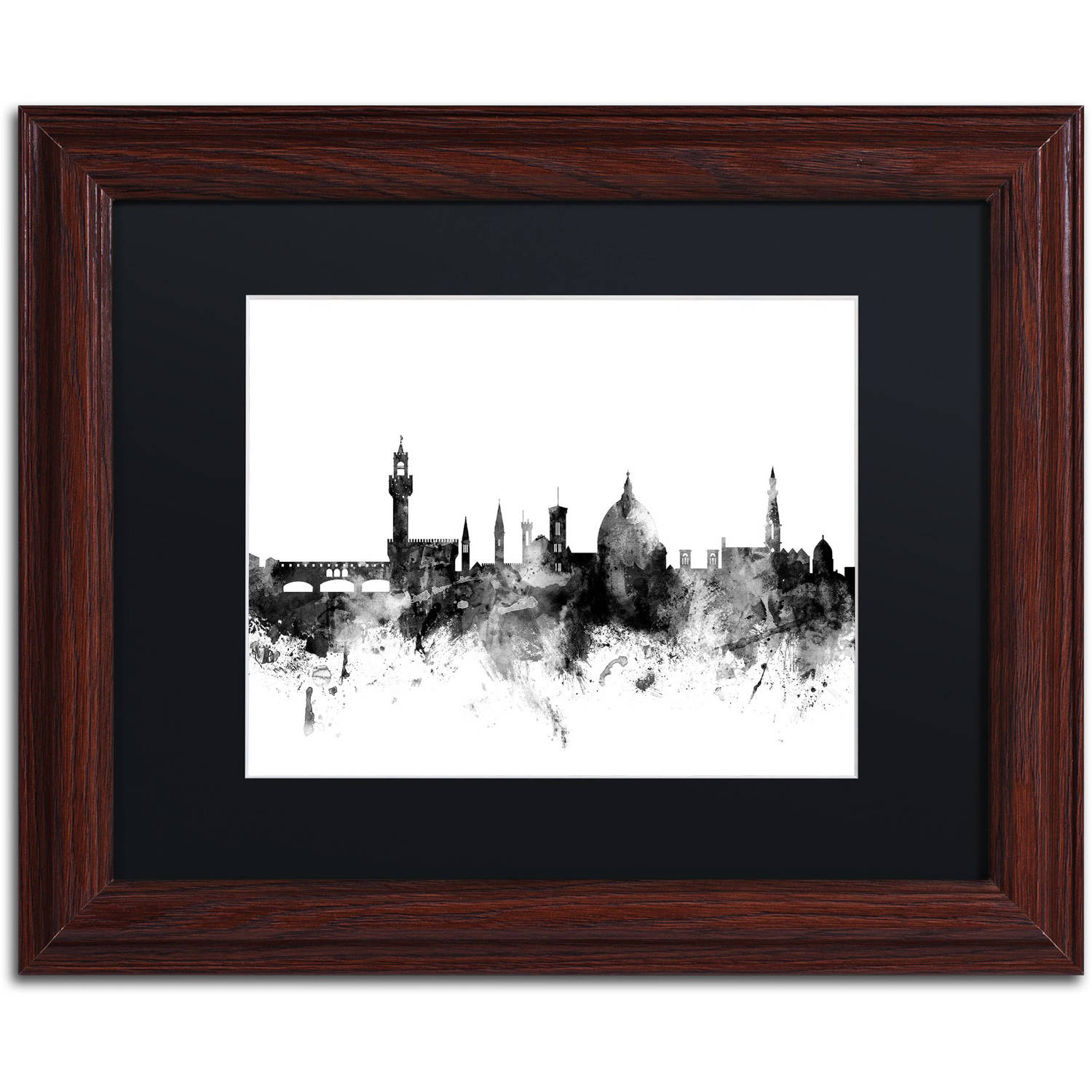 "Trademark Fine Art ""Florence Italy Skyline B&W"" Canvas Art by Michael Tompsett, Black Matte, Wood Frame"