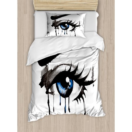 Eye Twin Size Duvet Cover Set, Dramatic Artwork of a Woman Eye with Dripping Paint Curvy Eyebrow and Long Lashes, Decorative 2 Piece Bedding Set with 1 Pillow Sham, Black Grey Blue, by Ambesonne