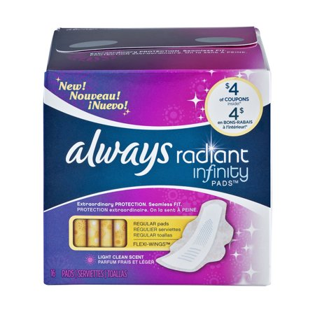 Always Radiant Pads with Wings, Regular, Scented, 16 Count