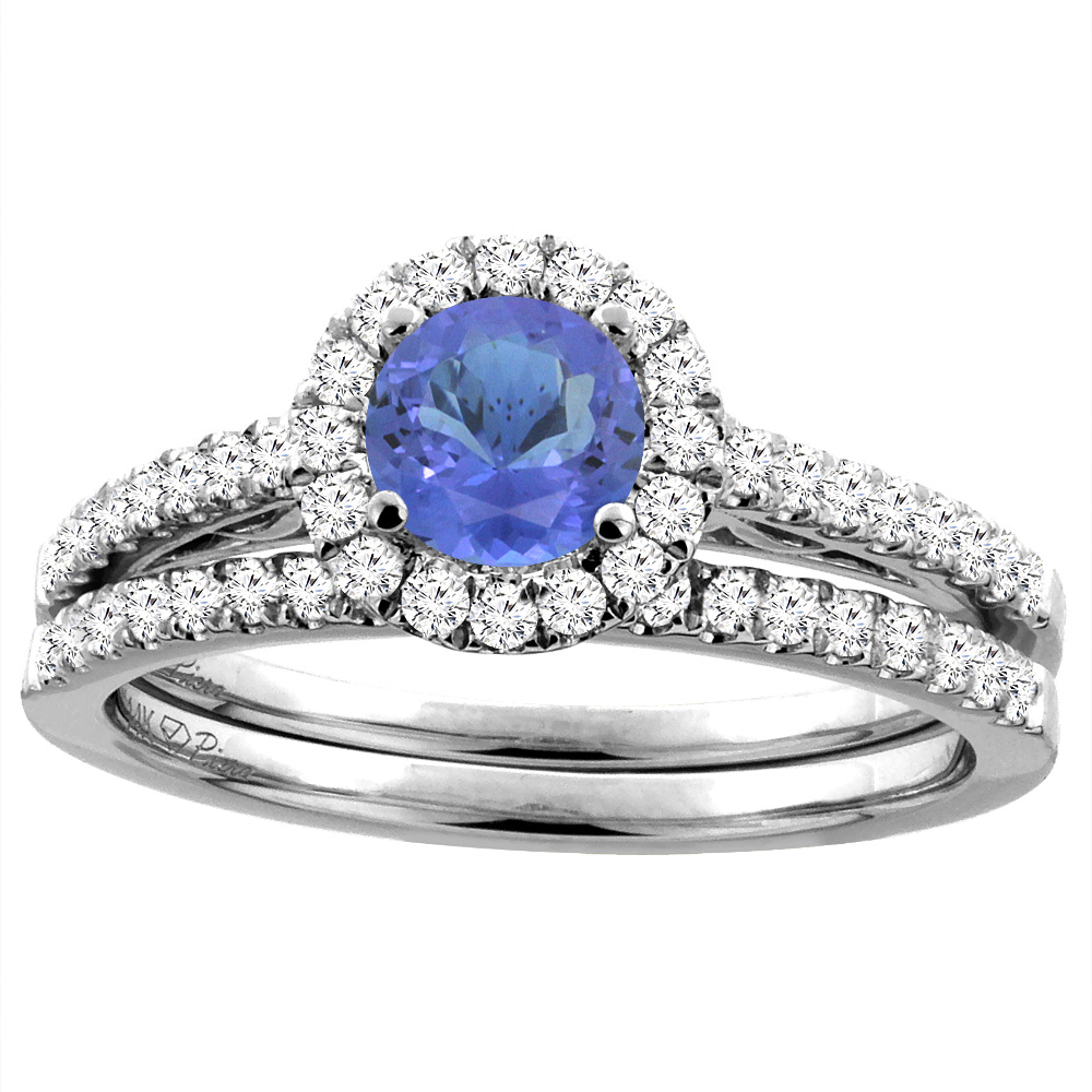 14K White Gold Diamond Natural Tanzanite Halo Engagement Bridal Ring Set Round 6 mm, size 5.5 by Gabriella Gold