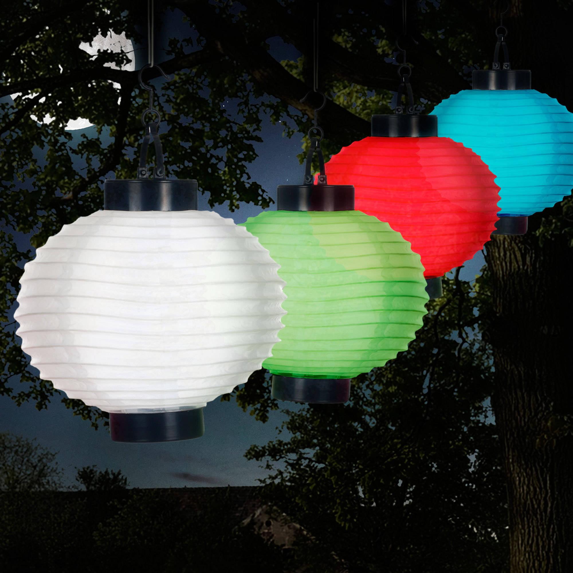 Pure Garden Outdoor Solar Chinese Lanterns, LED, Set Of 4   Walmart.com