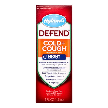 Cough Relief Syrup - Hyland's DEFEND Cold and Cough Night Syrup, Natural Relief of Cold and Cough, 4 Ounce