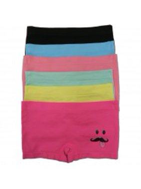 """Girls 6-Pack Seamless Assorted Colors """"Mustache Smile"""" Boyshorts - Small"""