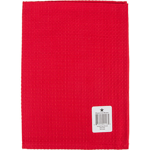 Waffle Weave Dishtowel 20 Inch X 28 Inch-Bright Red
