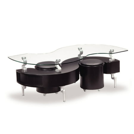 Global Furniture Glass Coffee Table With Tinted Black Trim