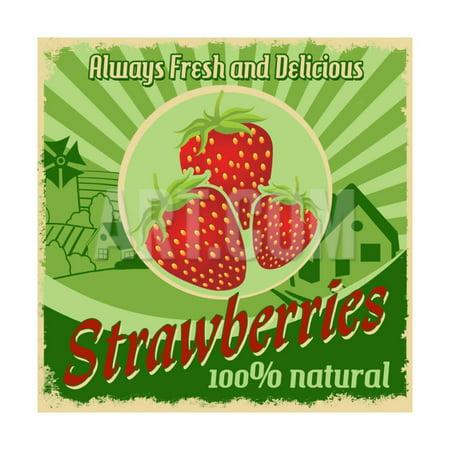 f2f4efed1e052 Vintage Poster For Strawberries Farm Print Wall Art By radubalint -  Walmart.com