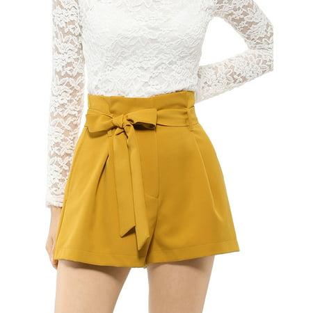 Women's Elegant Tie Waist High Waist Paper Bag Shorts
