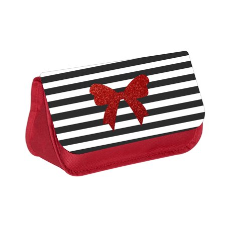 Red Faux Glitter Ribbon Print on Black and White Stripes - Red Cosmetic Case - Makeup Bag - with 2 Zippered Pockets - Black And White Striped Bag
