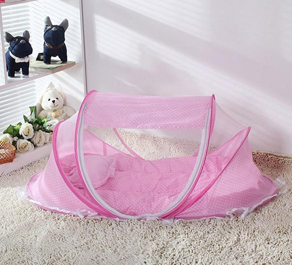 Comfortable Babies Pad with Sealed Mosquito Net Kids Infant Bed Dot Zipper