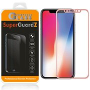 For Apple iPhone X - SuperGuardZ Full Cover Tempered Glass Screen Protector, Edge-To-Edge, 9H, Anti-Scratch, Anti-Bubble, Anti-Fingerprint [Rose Pink]