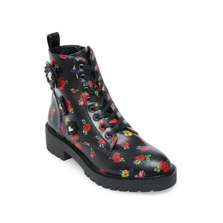 Dash Floral-Print Satin Lug Boots