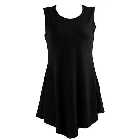 HDE Women's Flare Tunic Tank Top Summer Sleeveless Handkerchief Hem Shirt (Black, X-Large)