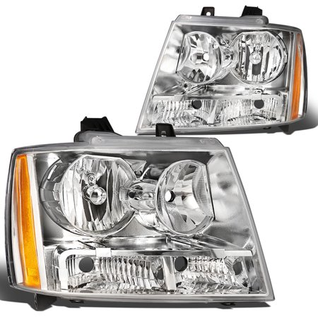 Chevy Truck Headlamp Headlight - For 07-14 Chevy Tahoe/Suburban 1500 2500/Avalanche Headlight Chrome Housing Amber Corner Headlamp 08 09 10 11 12 13 Left+Right