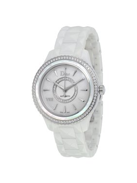 Dior VIII Automatic White Mother of Pearl Dial Ceramic Ladies Watch CD1245E9C001