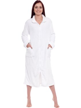 Product Image Silver Lilly Women s Long Fleece Zip Up Front Robe Housecoat c611a02bb