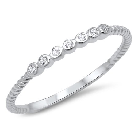 Stackable Cubic Zirconia Band - CHOOSE YOUR COLOR White CZ Cute Stackable Wedding Ring .925 Sterling Silver Thin Band
