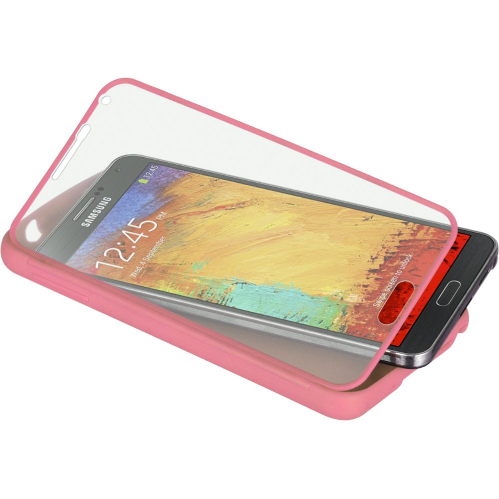 Insten Wrap-up Hard Skin Back Case w/ Screen Protector For Samsung Galaxy Note 3 - Pink - image 2 of 3