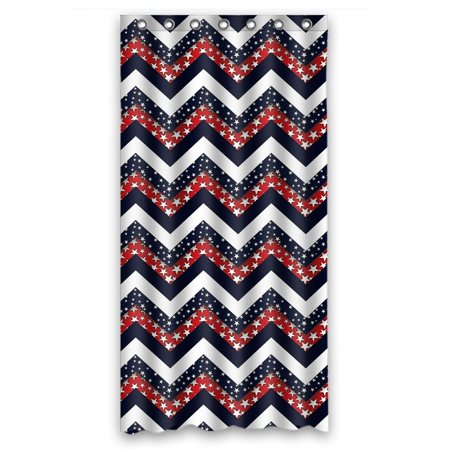 GCKG Dark Blue Red and White Star Chevron Waterproof Polyester Shower Curtain Bathroom Deco 36x72 inches - Red And White Chevron