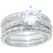 125 carat tgw round cut cz sterling silver high polish double band antique