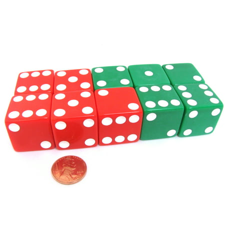 Koplow Games Set of 10 D6 25mm Large Opaque Jumbo Christmas Dice - 5 Each of Red and Green #05240 ()