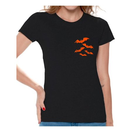 Awkward Styles Halloween Bats Tshirt Bats Shirt Halloween Shirt for Women Spooky Bats T-Shirt Women's Halloween T-Shirt Scary Gifts for Halloween Bat Shirt Halloween Party Outfit Funny Halloween - Halloween Messages For Boyfriend