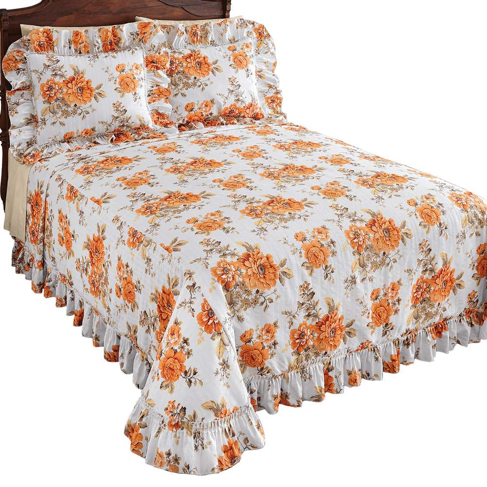 Amber Orange Floral & White Plisse Ruffle Lightweight Bedspread, Full, Amber
