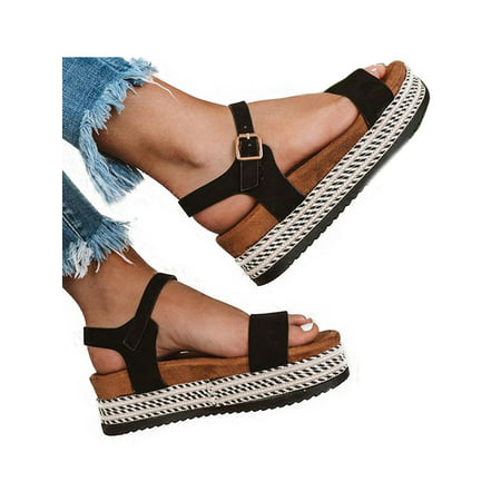 Women Open Toe Platform Cork Espadrille Sandals Wedge Ankle Buckle Shoes Size ()