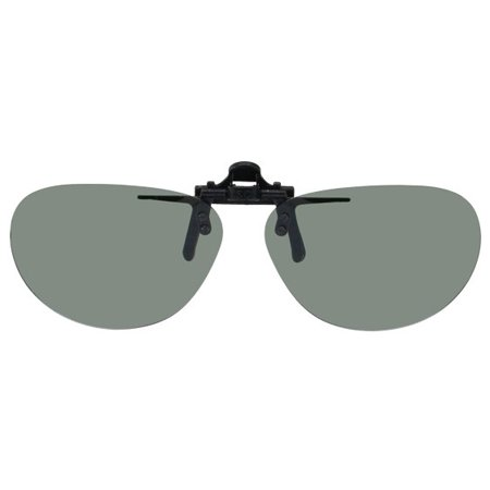 Polarized Clip-on Flip-up Plastic Sunglasses - Oval - 52-54mm X 39mm - Polarized Grey Lenses - Shade Control G-Clips