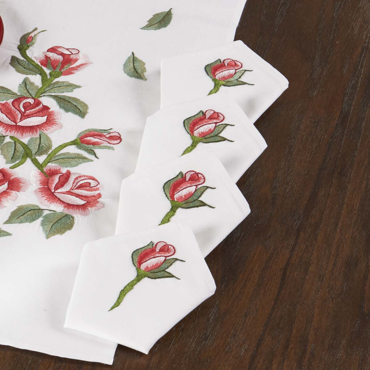 Herrschners® Red Rose Garden Napkins Stamped Embroidery