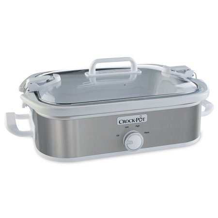 Crock-Pot - 3.5-Quart Casserole Crock Manual Slow Cooker with Oven Safe Removable Stoneware,  - Stainless-Steel/White New! ()