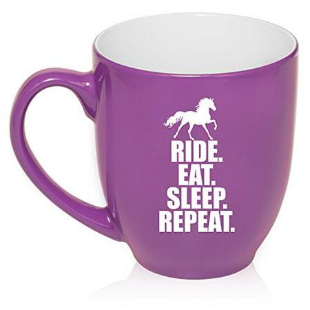16 oz Large Bistro Mug Ceramic Coffee Tea Glass Cup Horse Ride Eat Sleep Repeat (Purple)