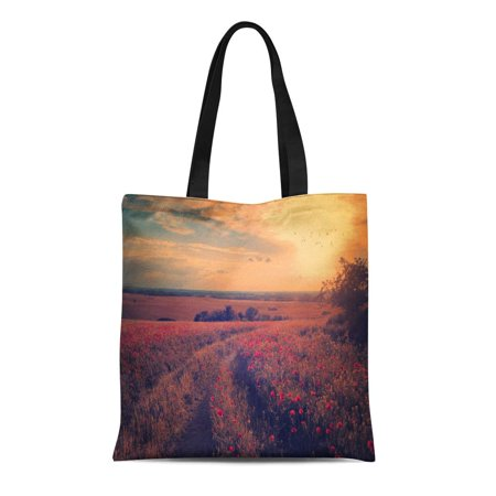 ASHLEIGH Canvas Tote Bag Red Scenery Vintage of Poppy Field in Sunset Orange Reusable Shoulder Grocery Shopping Bags Handbag - Orange Tote Bag