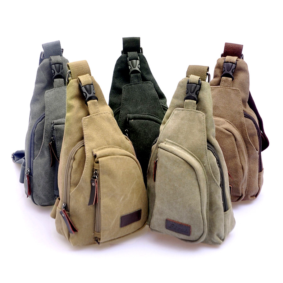Unisex Men Women Vintage Crossbody Canvas Military Rucksack Shoulder Hiking Backpack Travel Multipurpose Messenger Bags Small-Brown