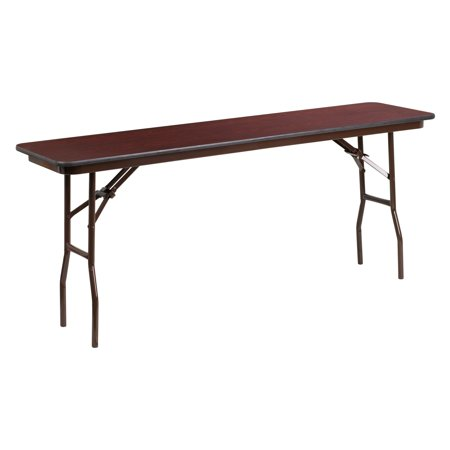Flash Furniture 18'' x 72'' Rectangular Mahogany Melamine Laminate Folding Training Table