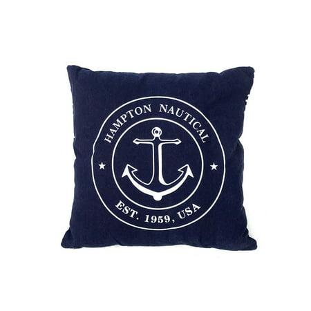 Decorative Blue Hampton Nautical with Anchor Throw Pillow 16