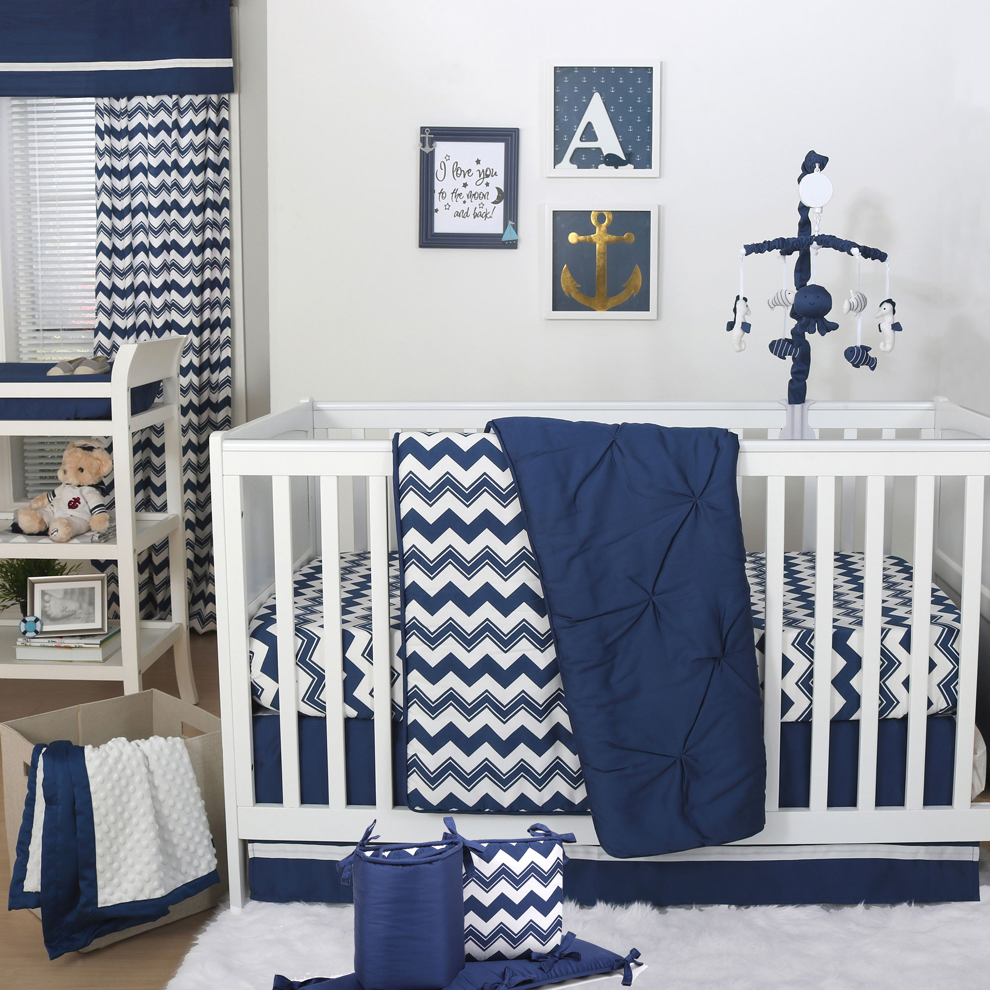 The Peanut Shell 5 Piece Baby Boy Crib Bedding Set - Navy Blue Zig Zag and Pintuck with Sealife Mobile - 100% Cotton Quilt, Bumper, Dust Ruffle, Fitted Sheet, and Mobile