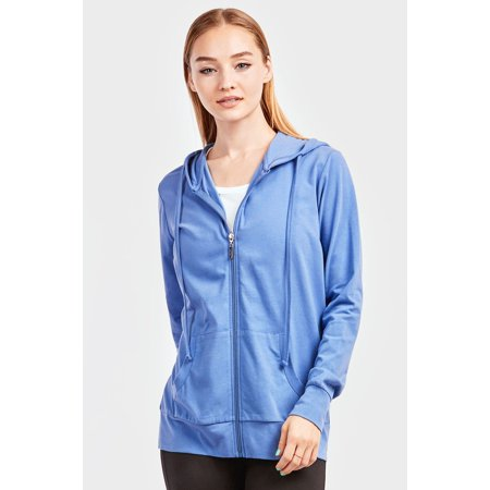 WOMEN'S ZIP UP LIGHTWEIGHT HOODIE - BLUE Blue Zip Hooded Sweatshirt