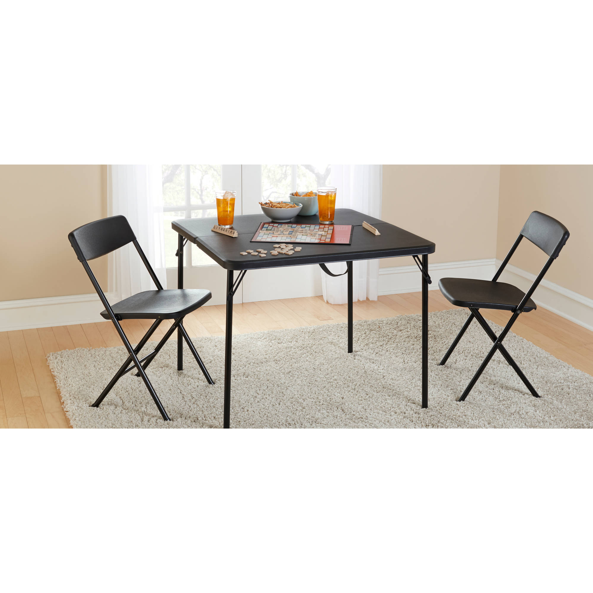 "Mainstays 34"" Square Fold-in-Half Table, Black"