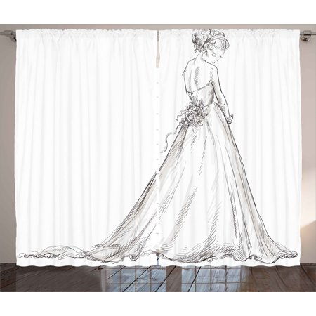 Bridal Curtains 2 Panels Set, Fairytale Ending of a Love Story Princess Sketchy Bride with Flowers Image, Window Drapes for Living Room Bedroom, 108W X 108L Inches, Black and White,