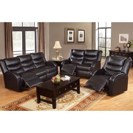 Gorgeous Modern Furniture 3pc Sofa Set Bonded Leather Sofa