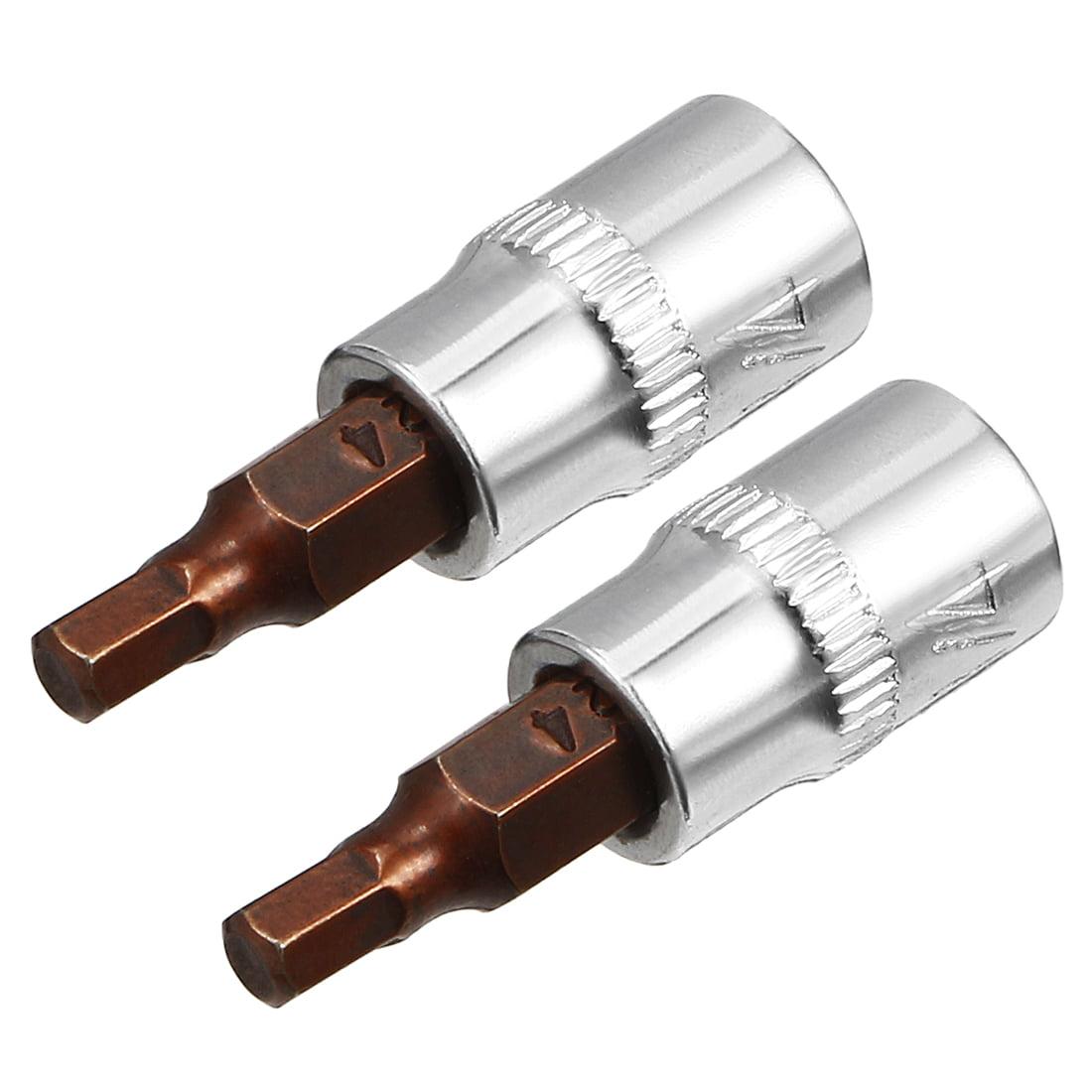 Tasharina 2 Pcs 1/4-Inch Drive 4mm Hex Bit Socket, S2 Steel