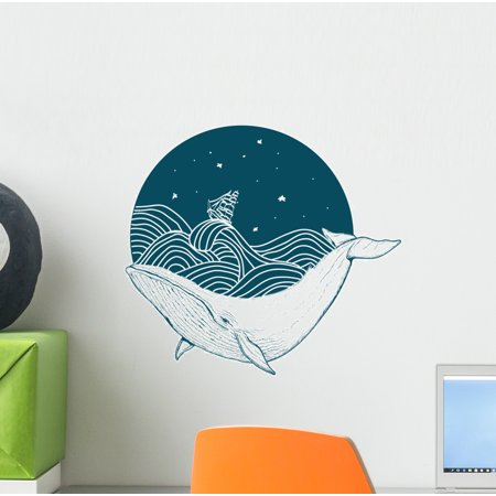 Circular Sea Blue Whale Wall Decal Wallmonkeys Peel and Stick Animal Graphics (12 in H x 12 in W)