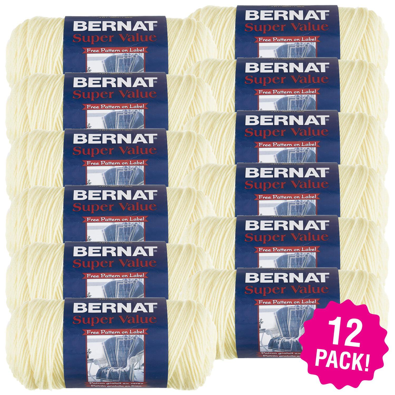 Bernat Super Value Solid Yarn - Natural, Multipack of 12