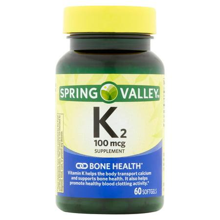 Spring Valley La vitamine K2 Gélules Complément alimentaire, 100mcg, 60 count