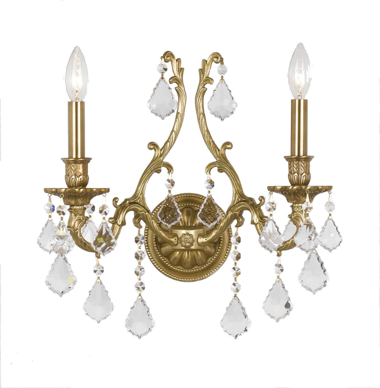Crystorama Yorkshire - Two Light Wall Sconce, Clear Swarovski Strass Crystal