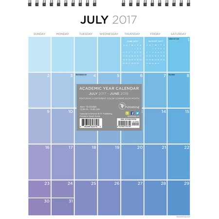 July 2017 June 2018 For The Love Of Color Monthly Wall Calendar 18 6048A