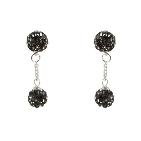 Gray Gemstone Earrings - Dlux Jewels gry Sterling Silver & Gray 6 mm Crystal Balls Earrings