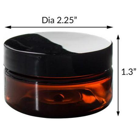 Amber PET Plastic (BPA Free) Refillable Low Profile Jar - 2 oz (6 pack) +  Spatulas and Labels