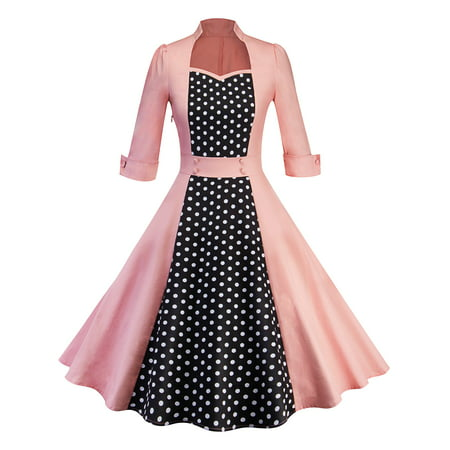 50s Women Vintage Polka Dot Rockabilly Swing Pinup Evening Party Housewife Dress Long Sleeve (Pink Dotted Dress)
