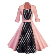 dd3b18015c8c0 50s Women Vintage Polka Dot Rockabilly Swing Pinup Evening Party Housewife  Dress Long Sleeve
